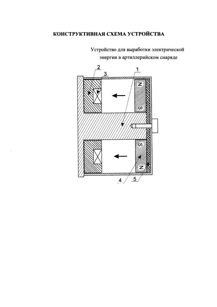 Устройство для выработки электрической энергии в артиллерийском снаряде