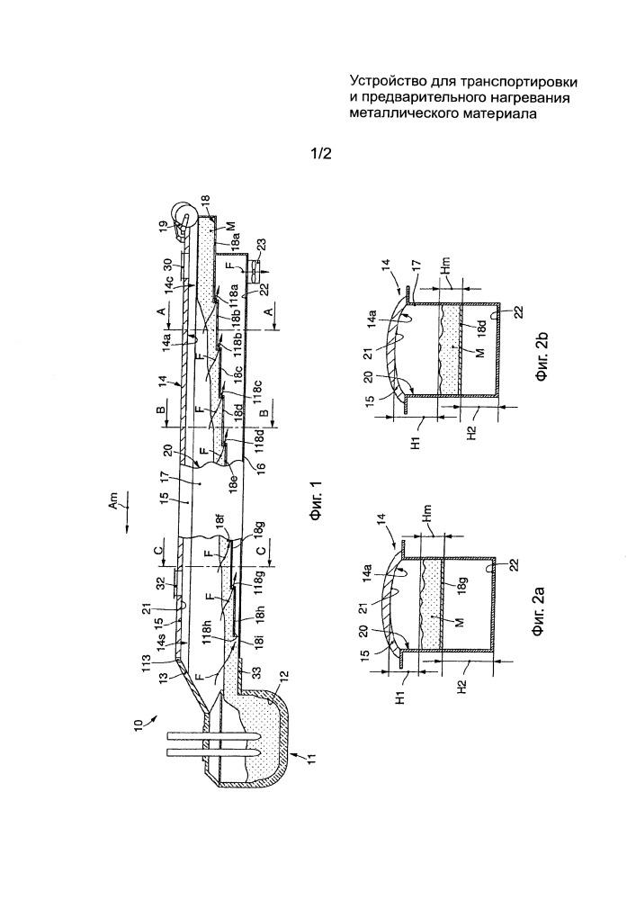 Устройство для транспортировки и предварительного нагревания металлического материала