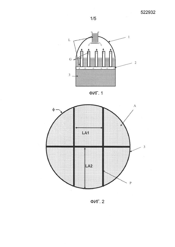 Контактор для обменной колонны, состоящий из отсеков неупорядоченной насадки, обменная колонна, плавучая конструкция, содержащая такую колонну, и использование колонны