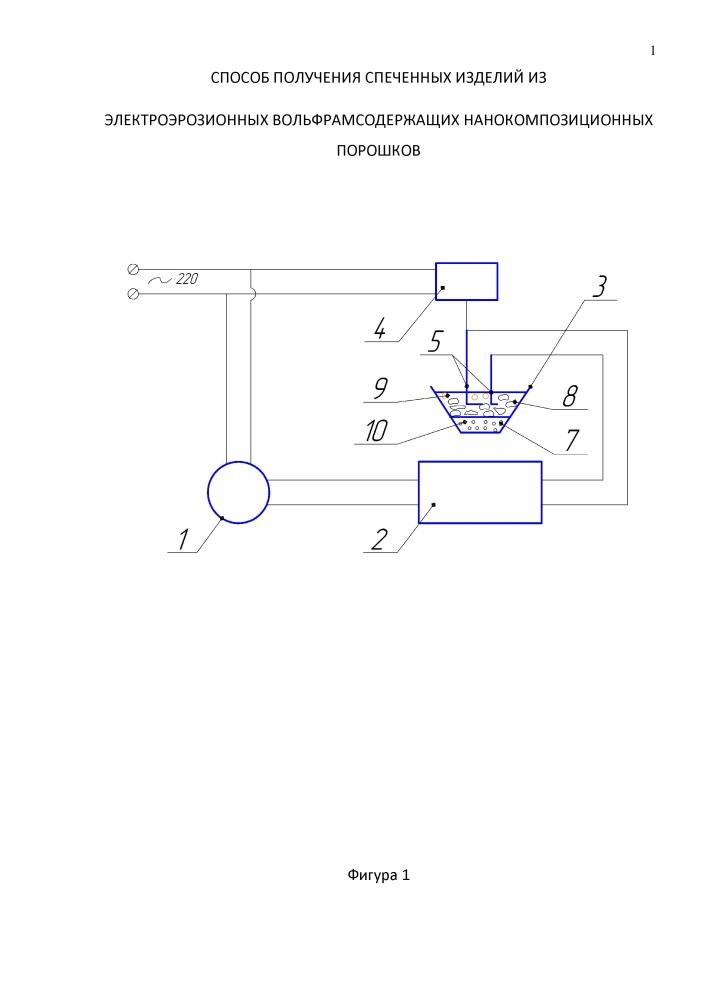 Способ получения спеченных изделий из электроэрозионных вольфрамосодержащих нанокомпозиционных порошков