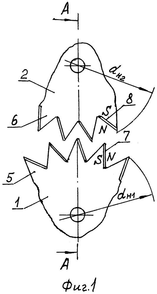 Механизм вращения зубчатых колёс с магнитной связью