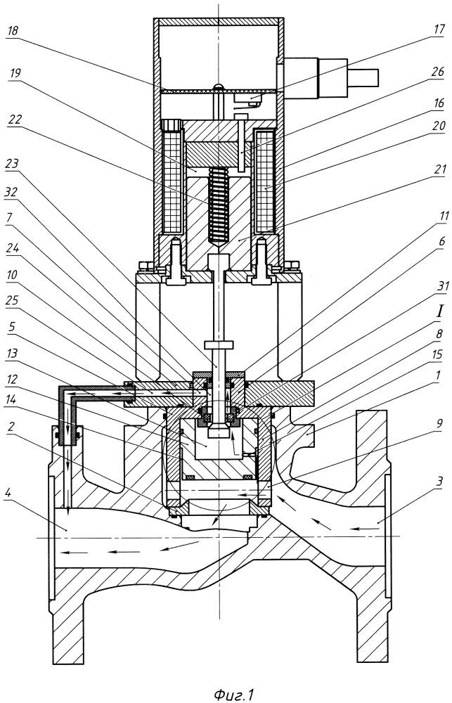 Клапан запорный электромагнитный нормально открытый