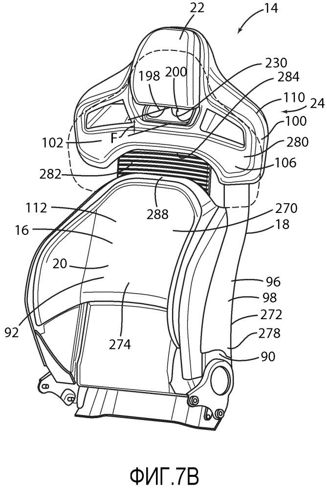 Узел сиденья транспортного средства для моторного транспортного средства (варианты) и спинка сиденья для моторного транспортного средства