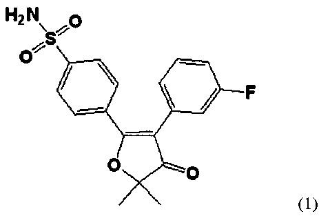 Фармацевтическая композиция, содержащая 5-{ 4-(аминосульфонил) фенил} -2,2-диметил-4-(3-фторфенил)-3(2н)-фуранон, и состав в капсулах, содержащий фармацевтическую композицию