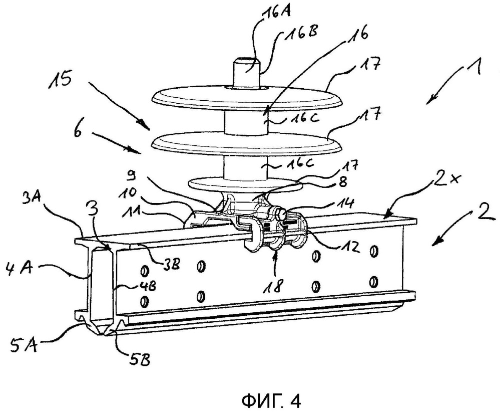 Крепежное устройство для контактного рельса и система устройств контактной сети