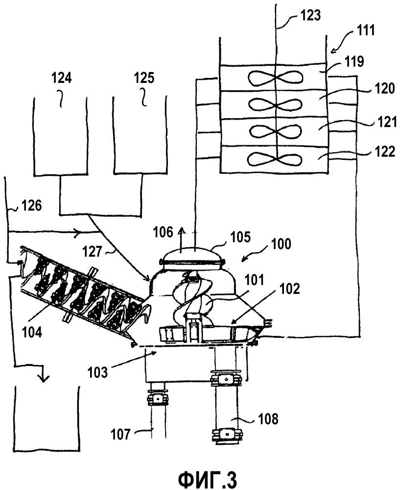 Устройство первичной обработки, установка с устройством первичной обработки, циклон и способ обработки смеси материалов