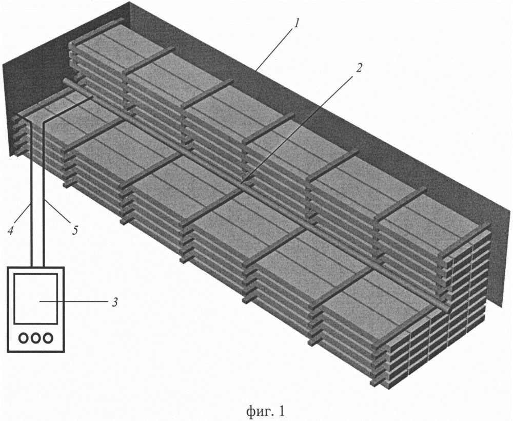 Устройство для измерения влажности пиломатериалов в штабеле в металлических лесосушильных камерах