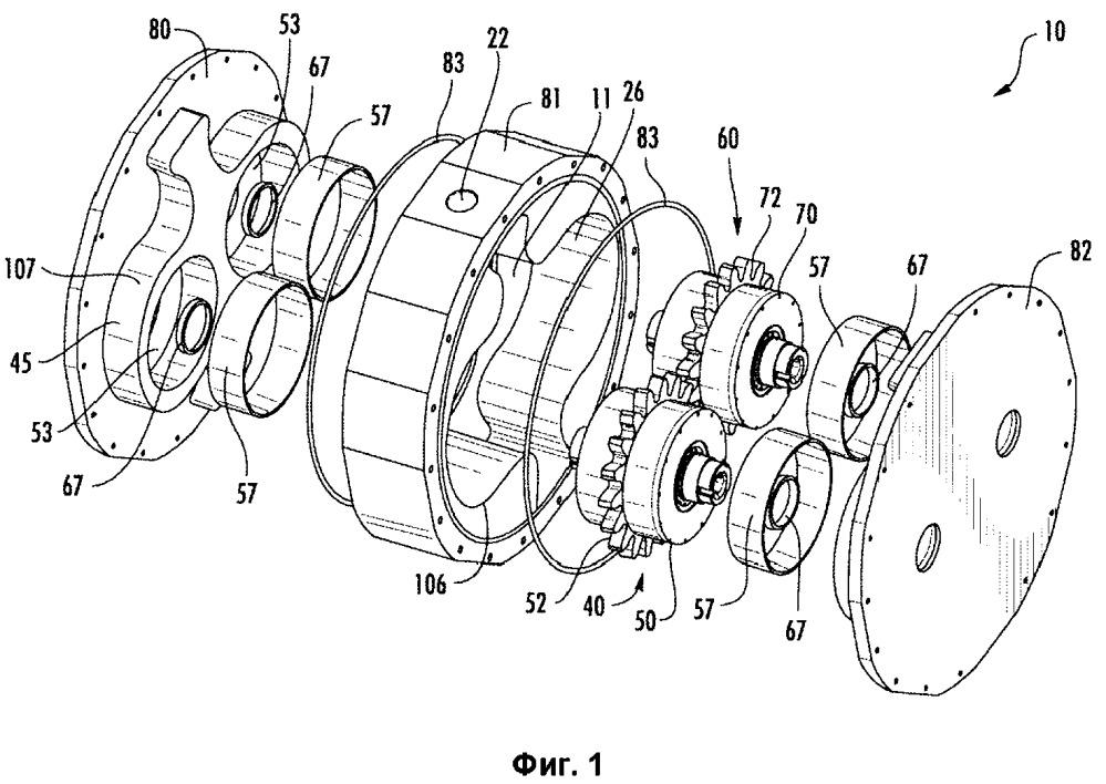Шестеренчатый насос с внешним зацеплением, объединенный с двумя независимо приводимыми в действие первичными приводами