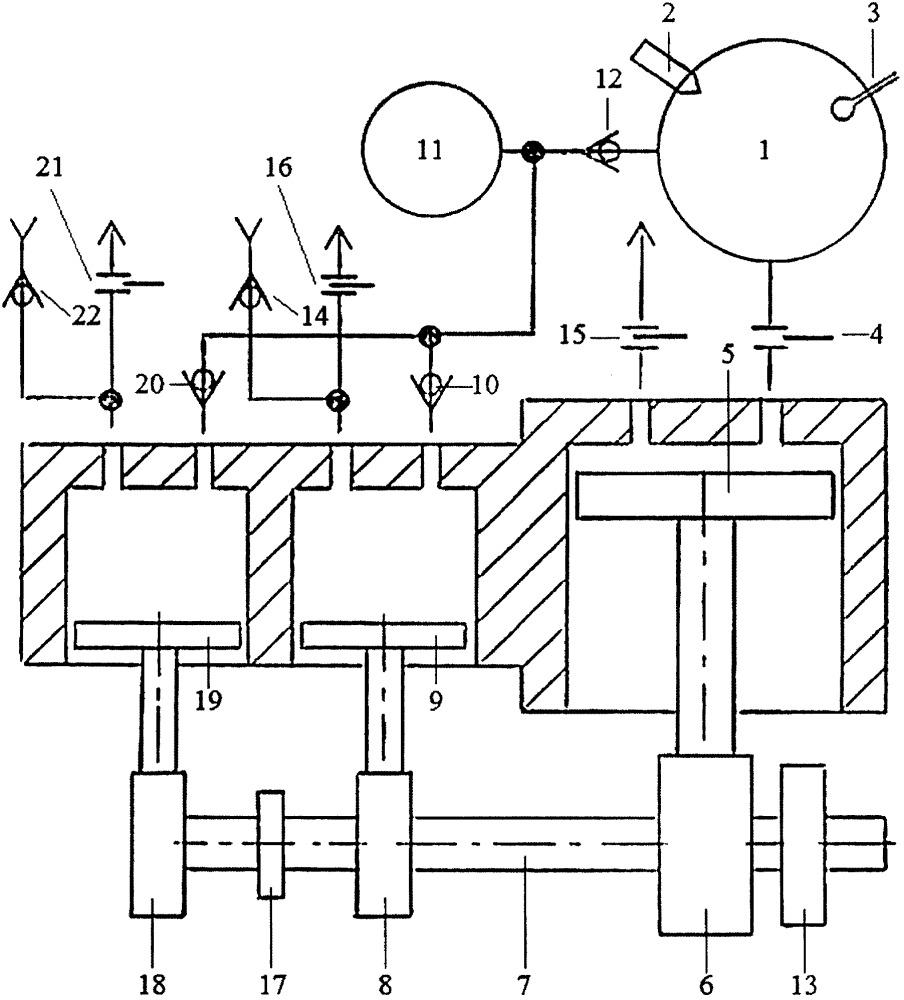 Способ подачи воздуха во внешнюю камеру сгорания двухтактного двигателя с внешней камерой сгорания из нескольких надпоршневых полостей компрессора
