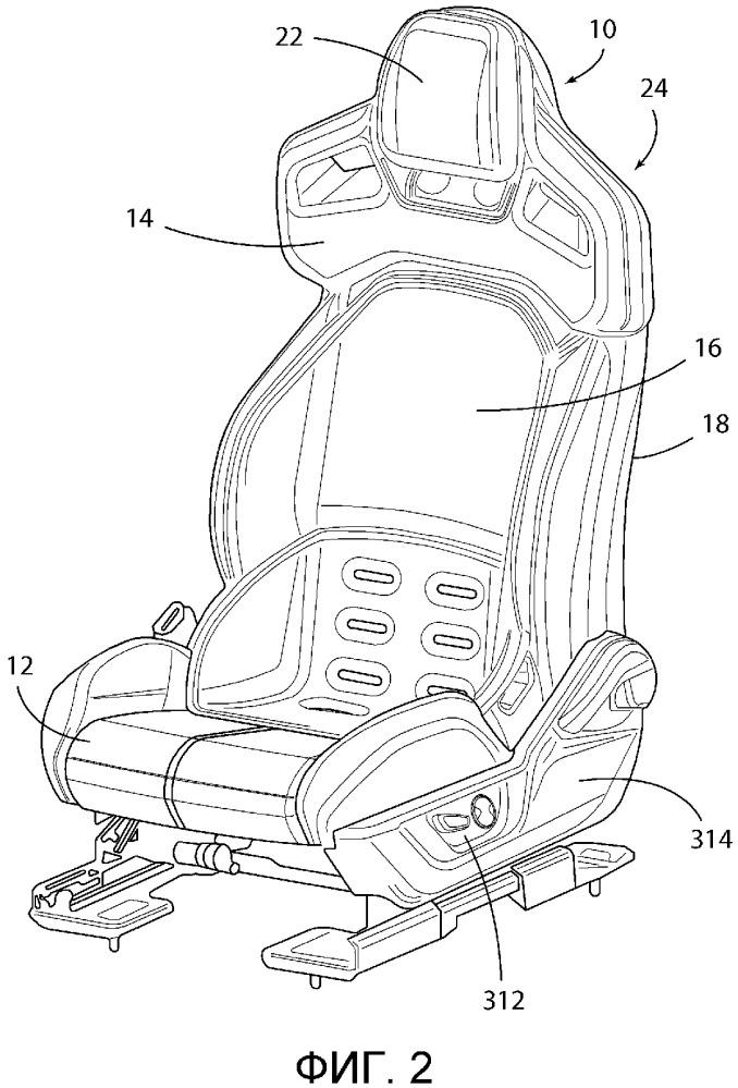 Крепление подголовника к выдвижному модулю спинки сиденья