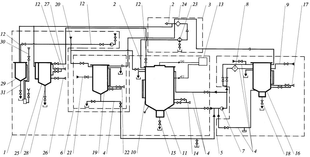 Установка электрохимической дезактивации металлических радиоактивных отходов