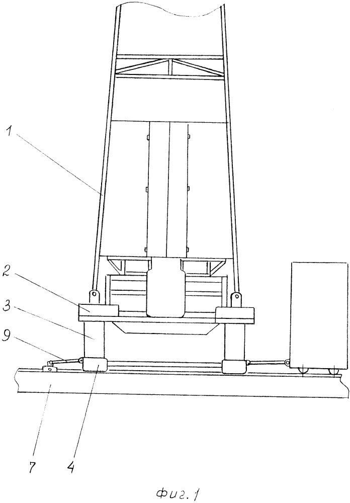 Кустовая буровая установка с встроенным устройством для подъема и выравнивания вышечно-лебедочного блока