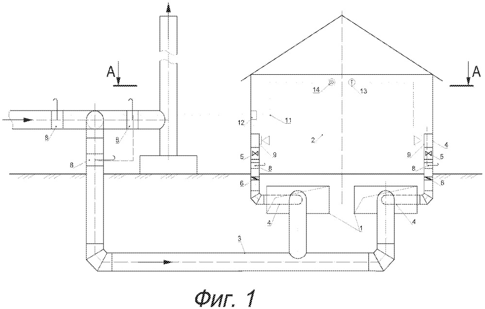 Система отопления и вентиляции помещения путем утилизации отработанных дымовых газов котельной с зависимой системой регулирования температуры