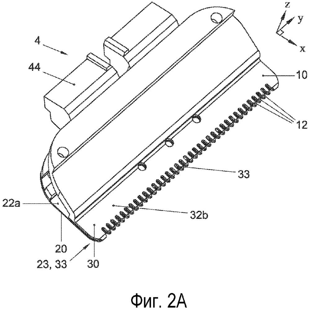 Набор лезвий для устройства для стрижки волос, устройство для стрижки волос с таким набором и способ изготовления набора лезвий