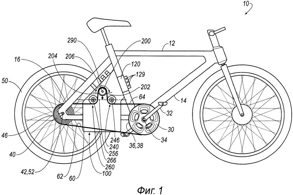 Силовой агрегат для взаимодействия с трансмиссионной лентой и велосипед