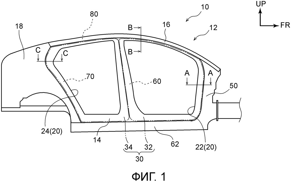Конструкция боковой секции транспортного средства