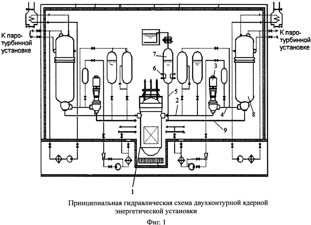 Устройство первого контура двухконтурной ядерной энергетической установки