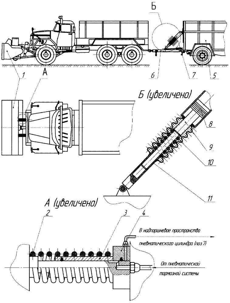 Адаптивная система повышения проходимости для снегоуборочного колесного автопоезда