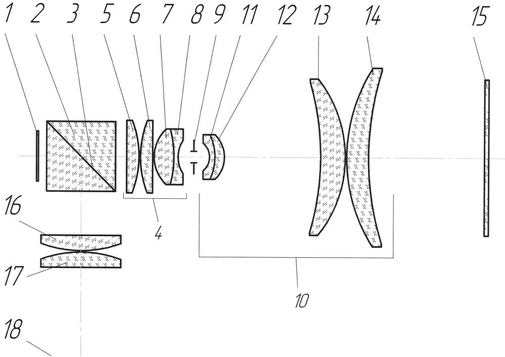 Проекционная оптическая система с телецентрическим ходом лучей в пространствах предметов и изображений