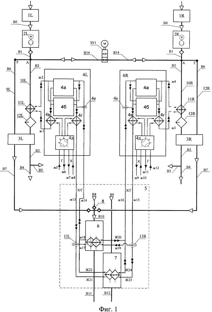 Система подготовки воздуха наддува гермокабины самолёта на основе парокомпрессионных холодильных установок с вторичным теплоносителем