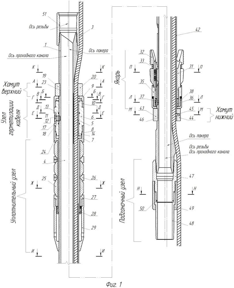 Способ герметизации силового электрического кабеля в пакере, конструкция пакера, его реализующая, и способ сборки пакера с кабелем, этой конструкцией определяемый