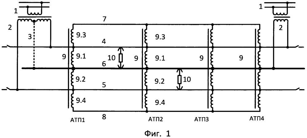 Способ усиления системы электроснабжения двухпутного участка тяговой сети переменного тока