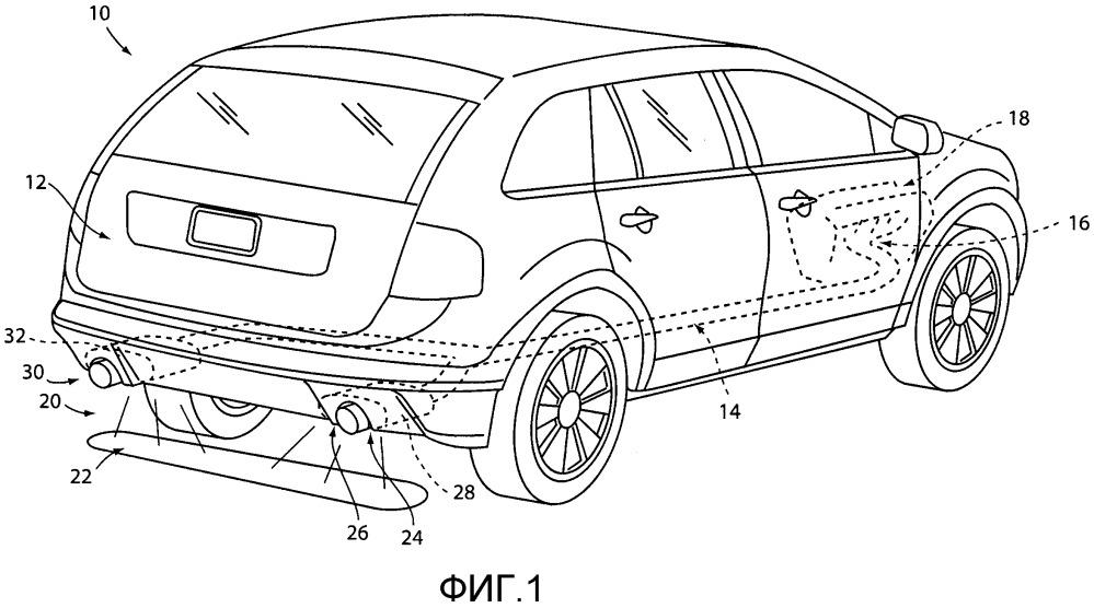 Система освещения транспортного средства с подсветкой выхлопной системы