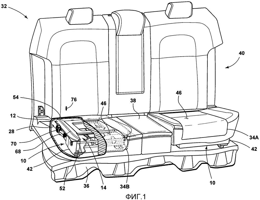 Посадочный узел транспортного средства, сиденье моторного транспортного средства и установочный узел для подушки сиденья транспортного средства