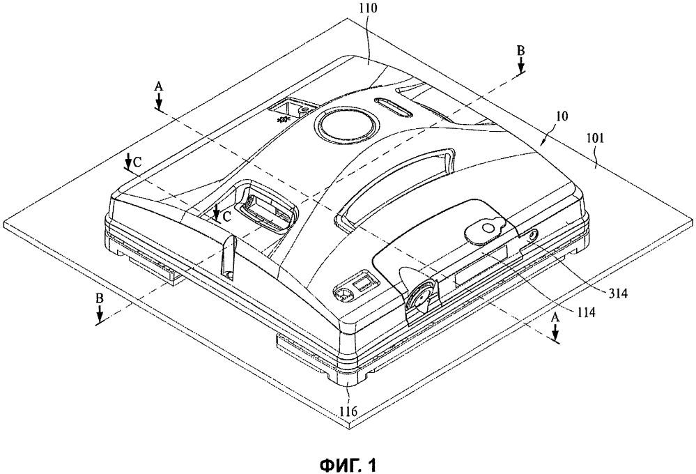 Моечно-очистительное роботизированное устройство, выполненное с возможностью перемещения по поверхности (варианты)