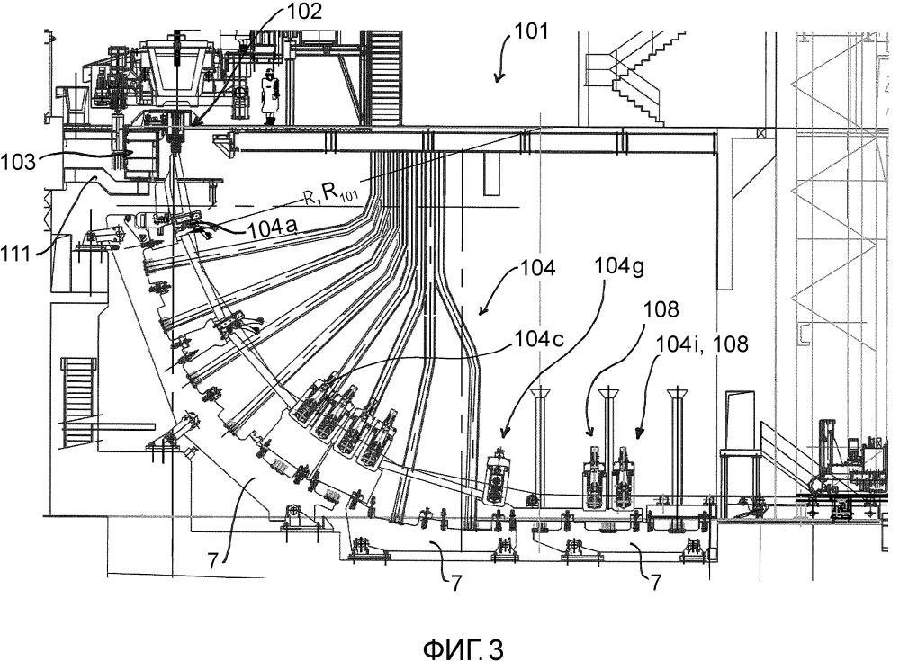 Способ быстрого переоборудования одноручьевой слябовой установки непрерывной разливки в многоручьевую сортовую установку непрерывной разливки и наоборот