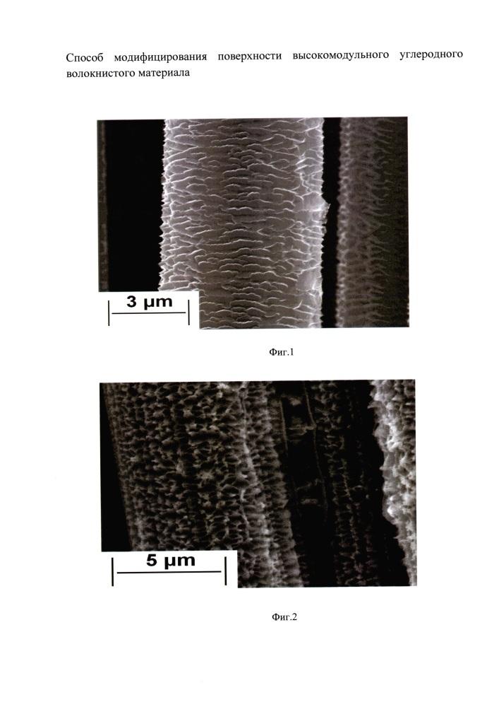 Способ модифицирования поверхности высокомодульного углеродного волокнистого материала