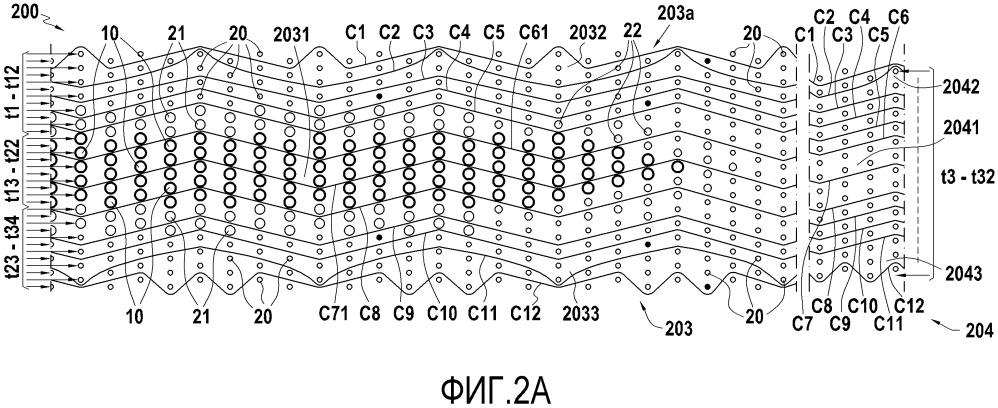 Армирующая волокнистая структура для деталей из композиционного материала с большим диапазоном толщины