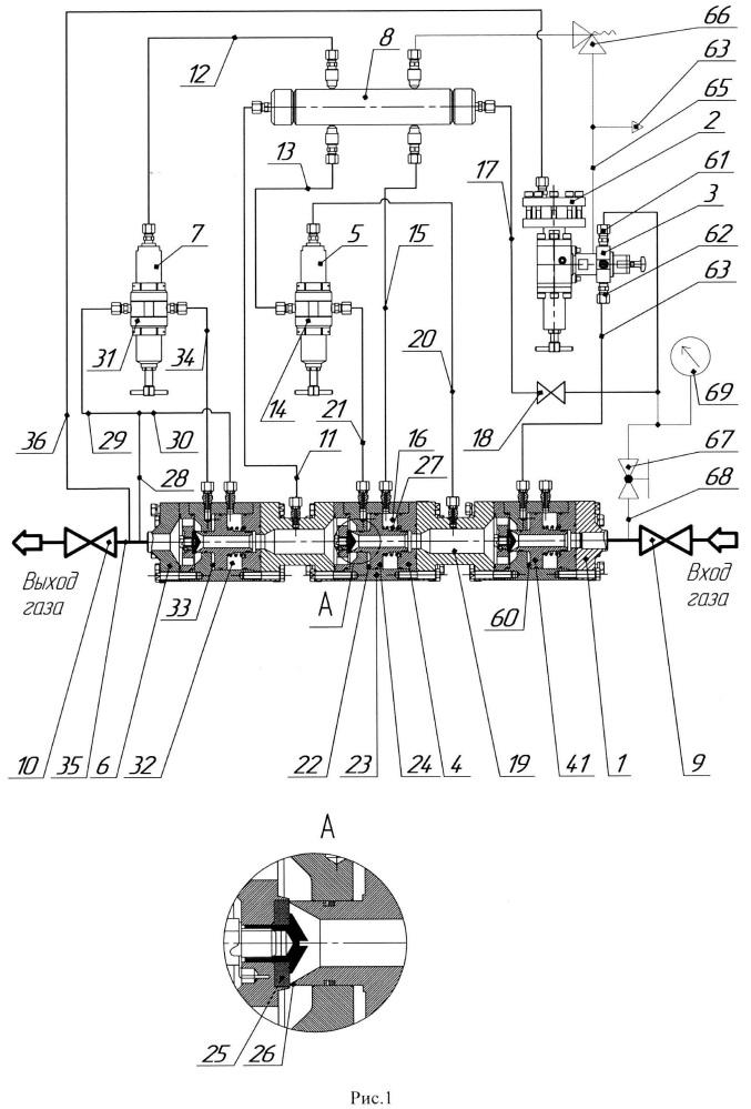 Модуль отсекателя потока газа с регулятором давления газа