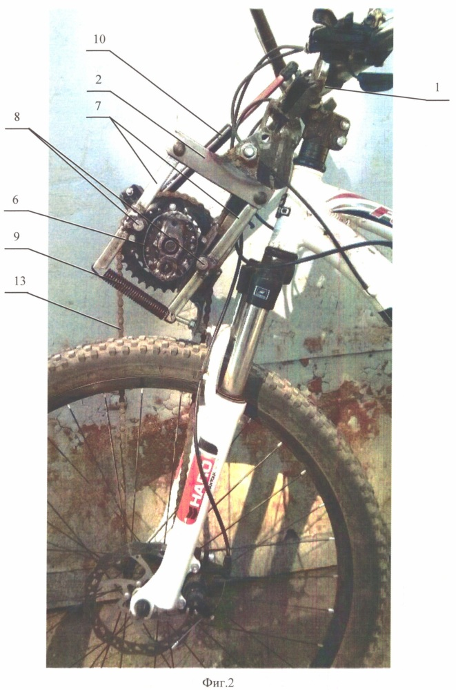 Модуль рулевого привода переднего колеса велосипеда