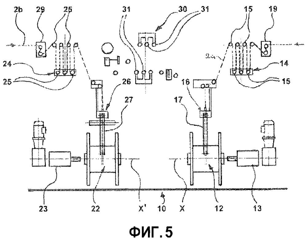 Установка для накопления или выдачи удлиненного элемента для сборки шин и способ накопления или выдачи удлиненного элемента, намотанного на бобины