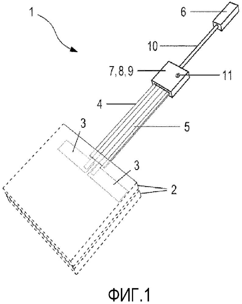 Узел для соединения плоского тела с источником напряжения с заделанным блоком управления