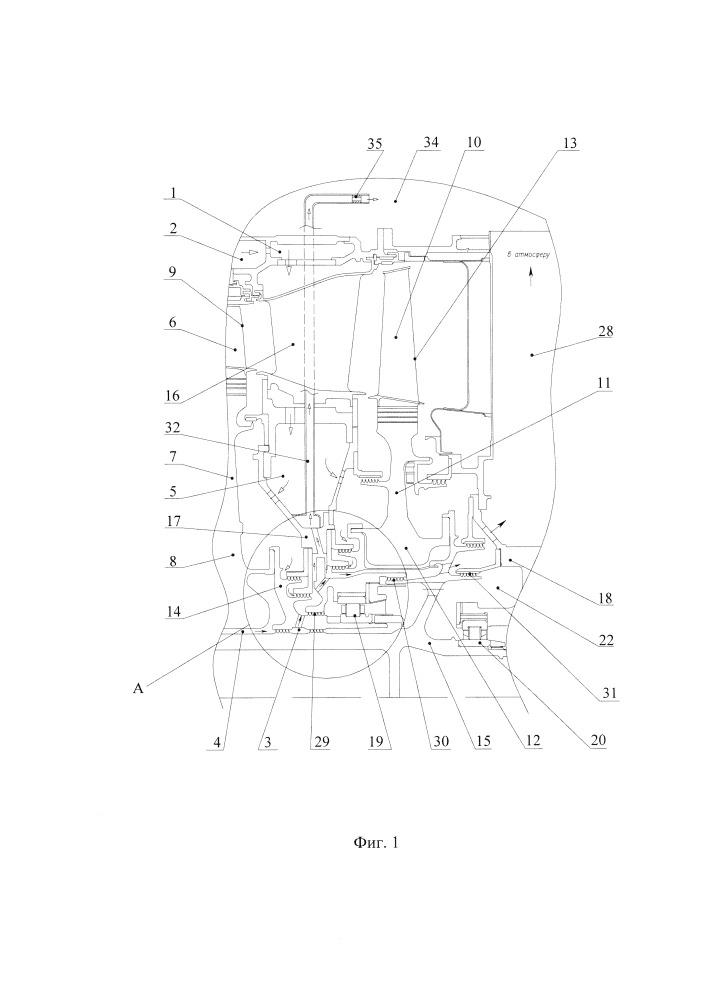 Охлаждаемая турбина двухконтурного газотурбинного двигателя