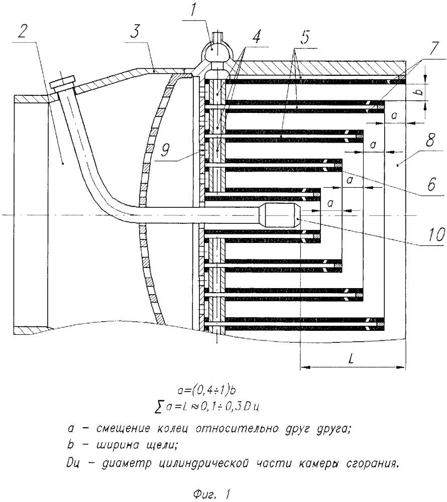 Щелевая смесительная головка камеры жидкостного ракетного двигателя
