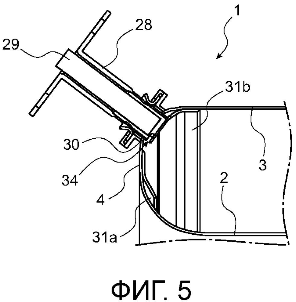 Камера сгорания газотурбинного двигателя, содержащая заходящую деталь с отверстием