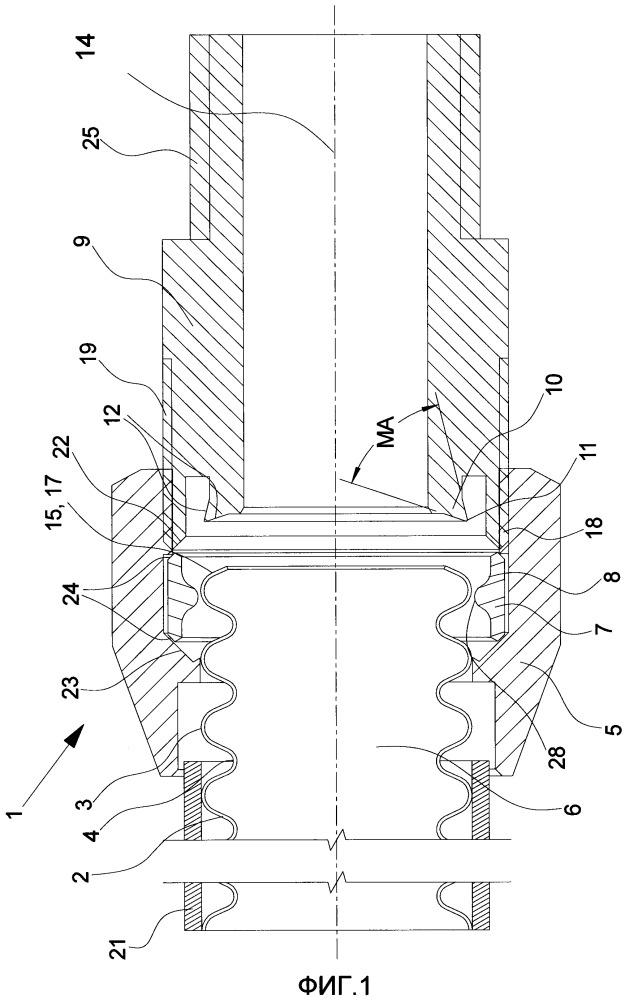 Соединительное устройство, способ подсоединения гофрированной трубы к соединительному устройству и его применение