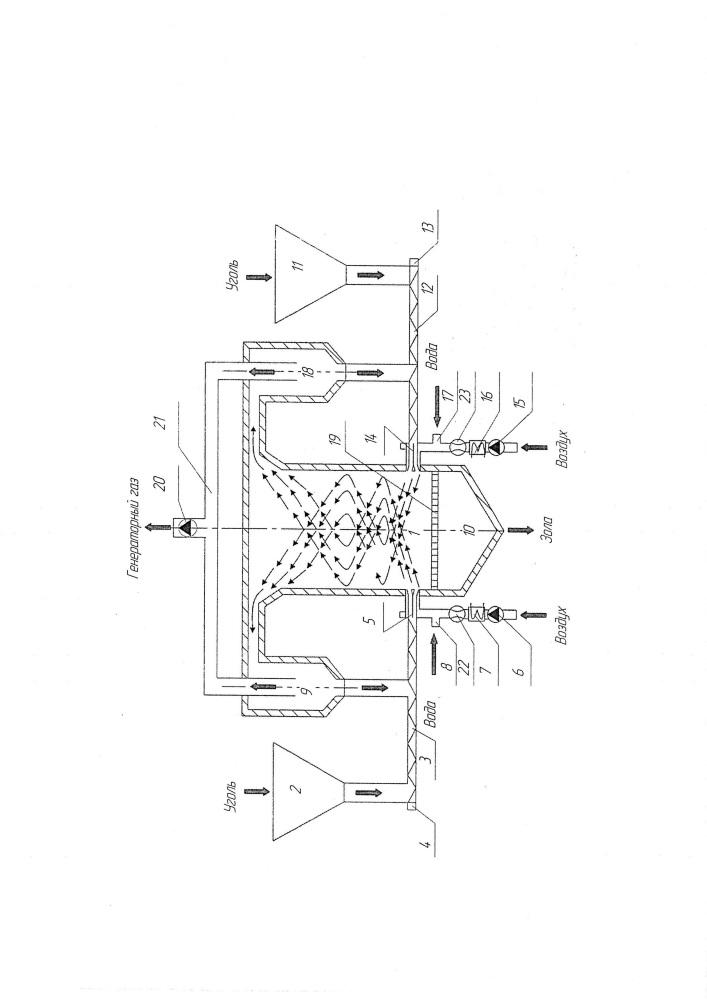 Установка газификации низкореакционных твердых топлив