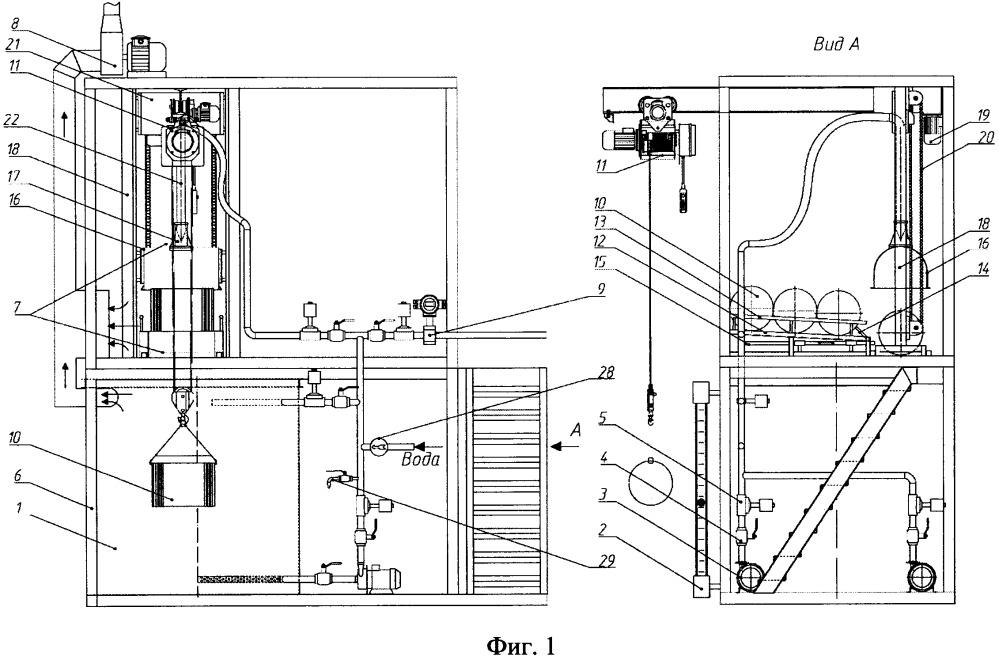Модульная установка растаривания металлических барабанов, содержащих токсичный реагент