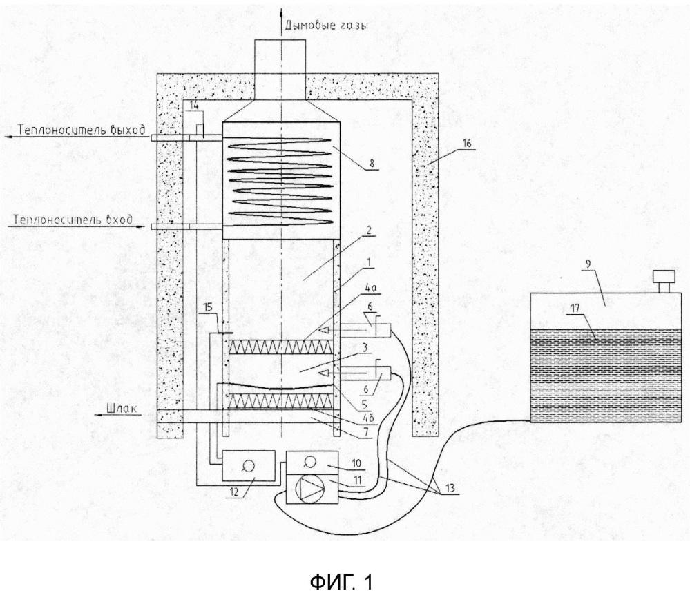 Устройство для сжигания водоугольного топлива с керамическим стабилизатором горения и подсветкой