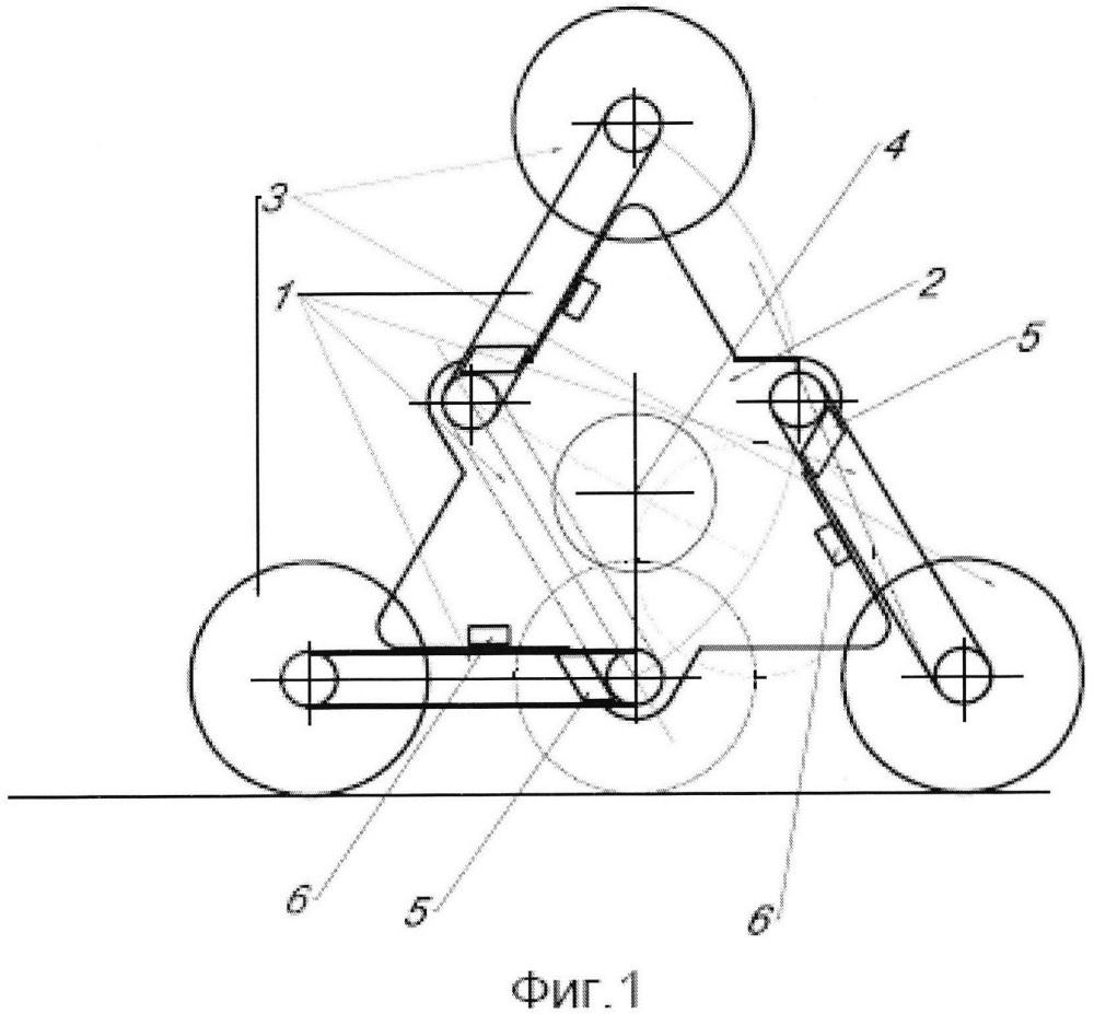 Колесно-шагающий движитель повышенной опорной и геометрической проходимости