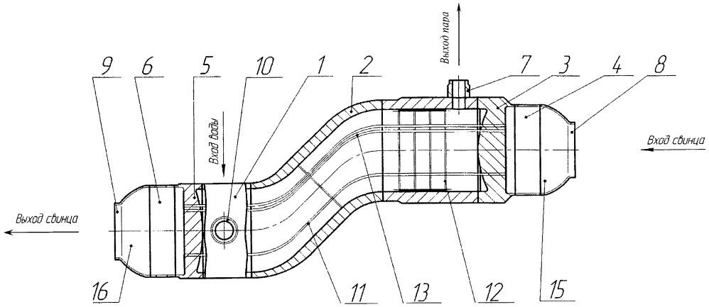 Парогенератор обратного типа для реактора на быстрых нейтронах со свинцовым теплоносителем