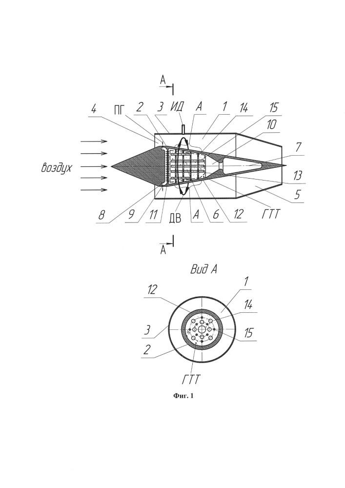 Воздушно-реактивный детонационный двигатель на твердом топливе и способ его функционирования