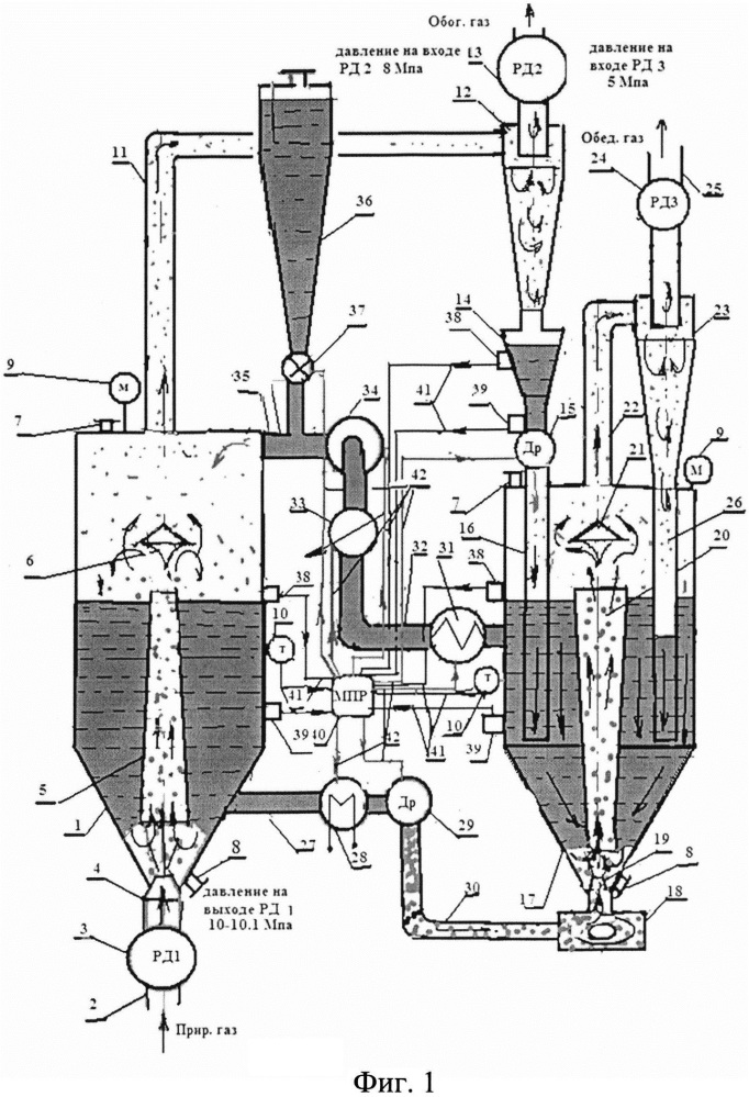 Абсорбционно-десорбционное устройство циркуляционного типа для сепарации гелия из природного газа