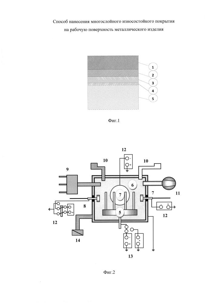 Способ нанесения многослойного износостойкого покрытия на рабочую поверхность металлического изделия
