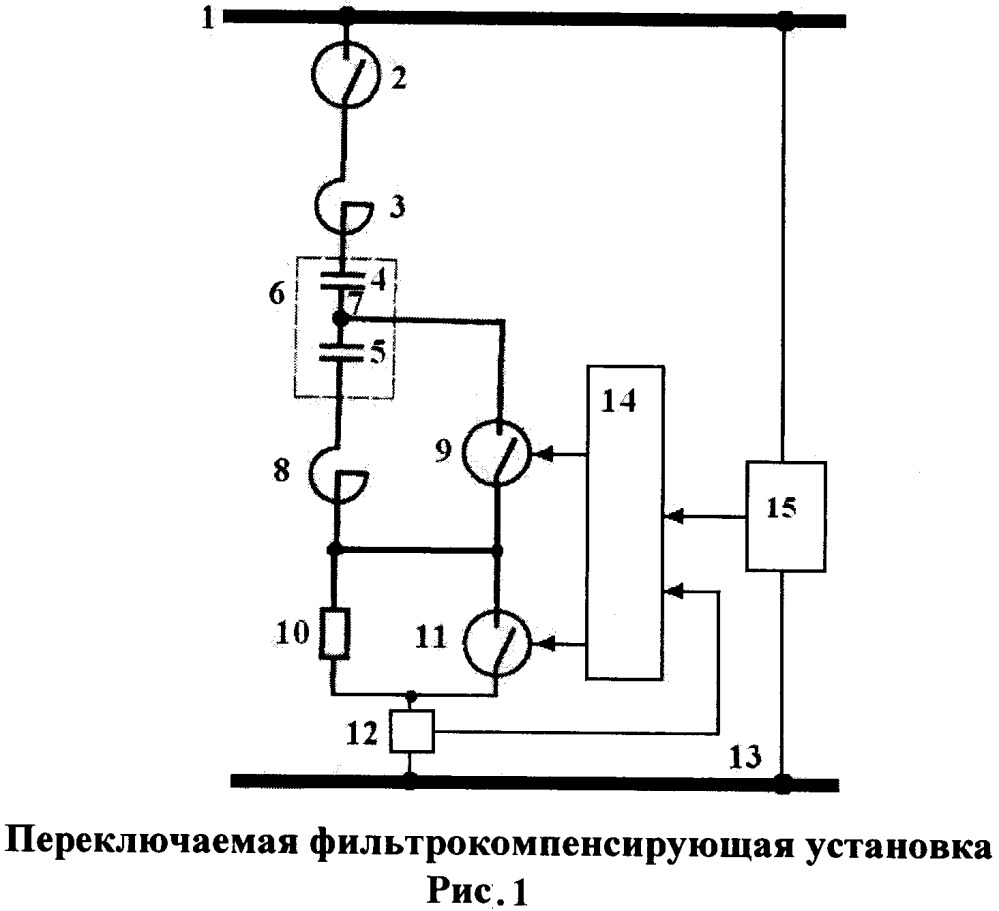 Переключаемая фильтрокомпенсирующая установка