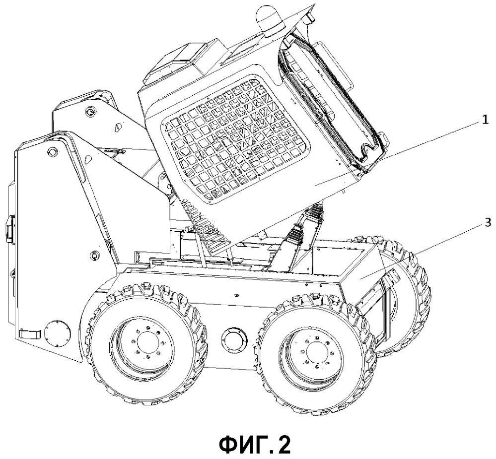 Звукоизоляционная и шумопонижающая конструкция разделенной на верхнюю и нижнюю части кабины, кабина и погрузчик с бортовым поворотом